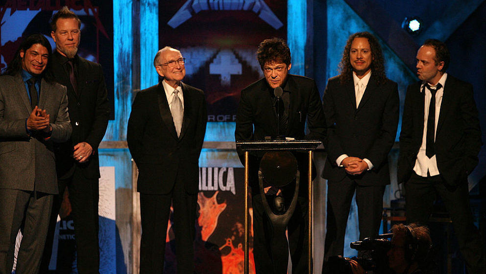 (L-R) Robert Trujillo, James Hetfield, Ray Burton, father of deceased band member Cliff Burton,  Kirk Hammett and Lars Ulrich