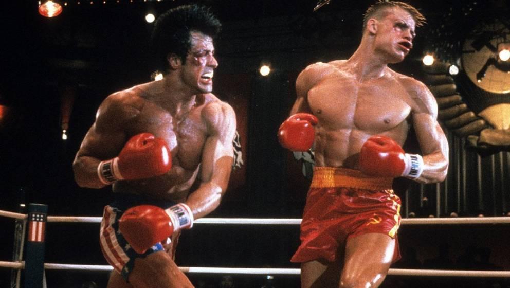 Rocky Balboa (Sylvester Stallone) mit Ivan Drago (Dolph Lundgren)