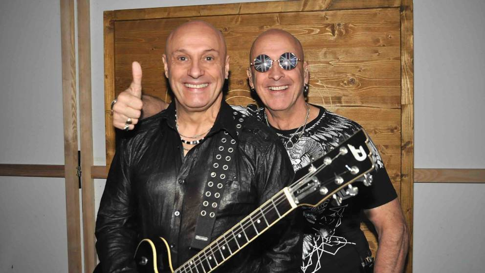 VIENNA, AUSTRIA - OCTOBER 05:  Fred Fairbrass (L) and Richard Fairbrass of Right Said Fred pose backstage in Vienna during th