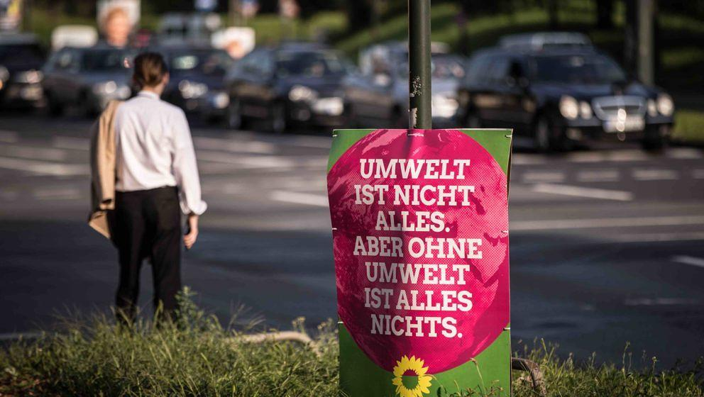 DUSSELDORF, GERMANY - AUGUST 29: An election campaign poster of the German Greens Party stands on  August 29, 2017 in Dusseld