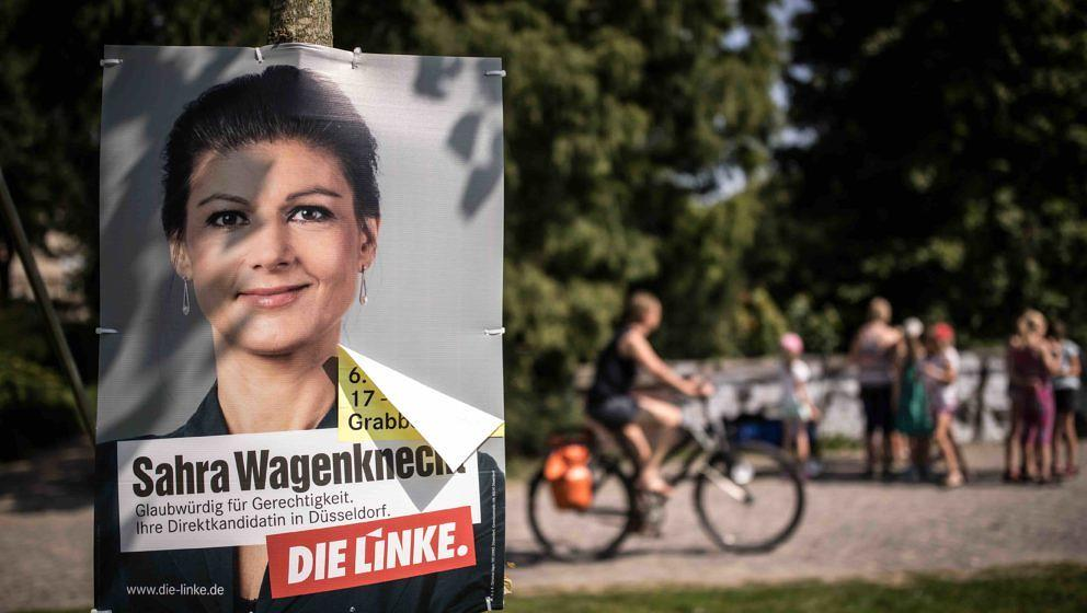 DUSSELDORF, GERMANY - AUGUST 29: An election campaign poster that depicts co-Chairman of the Die Linke parliamentary group Sa