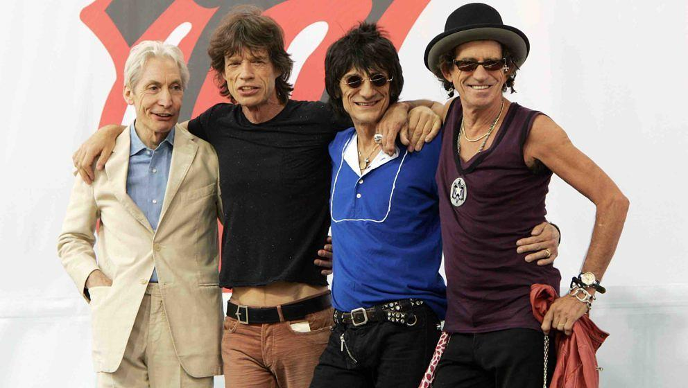 NEW YORK - MAY 10:  (L-R) Charlie Watts, Mick Jagger, Ron Wood, and Keith Richards of The Rolling Stones pose for a photo dur