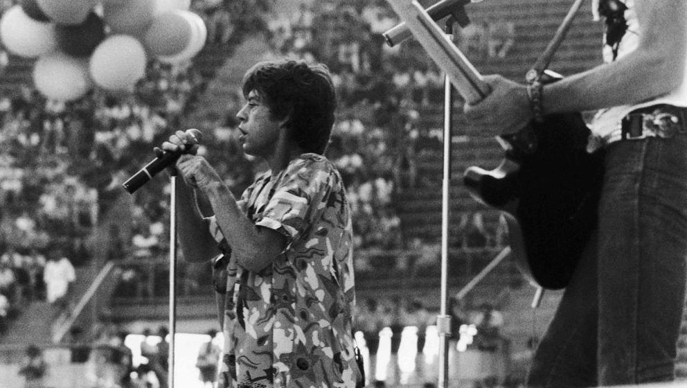 GERMANY - MARCH 10:  On June 10, 1982, Mick JAGGER, singer for the ROLLING STONES, gave a concert in a stadium of Munich, Wes