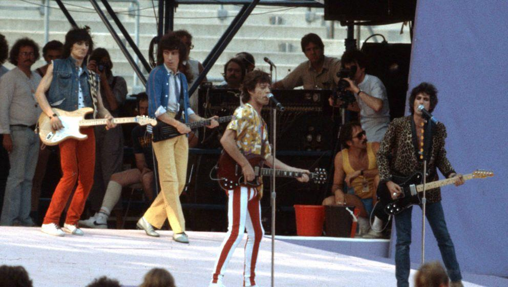 MUNICH, GERMANY - JUNE 10: The Rolling Stones perform live in Munich Olympic Stadium during their 1982 European Tour on June