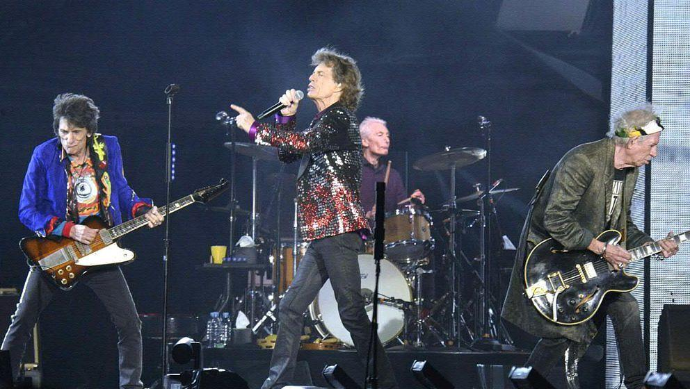 Ronnie Wood, Mick Jagger, Charlie Watts und Keith Richards on Fire