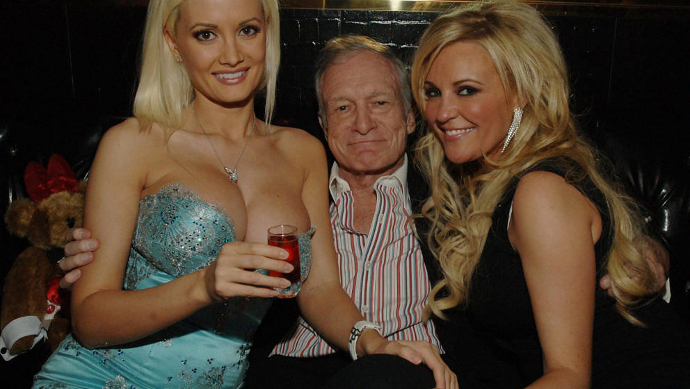Holly Madison, Hugh Hefner and Bridget Marquardt during Hugh Hefner's 81st Birthday Weekend - Birthday Party at The Playboy C