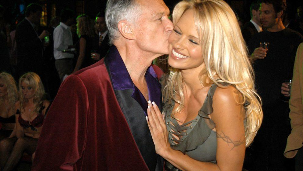 Hugh Hefner and Pamela Anderson during The Official Launch Party For Spike TV At The Playboy Mansion - Inside at The Playboy