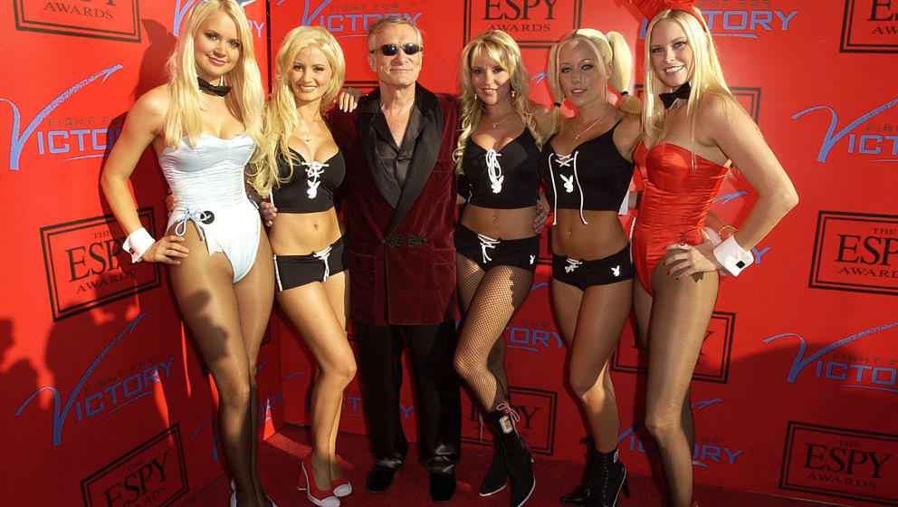Hugh Hefner and Playboy Playmates during Tom Brady and ESPN Host 'Fight For Victory' Pre-Party for the 12th Annual ESPY Award