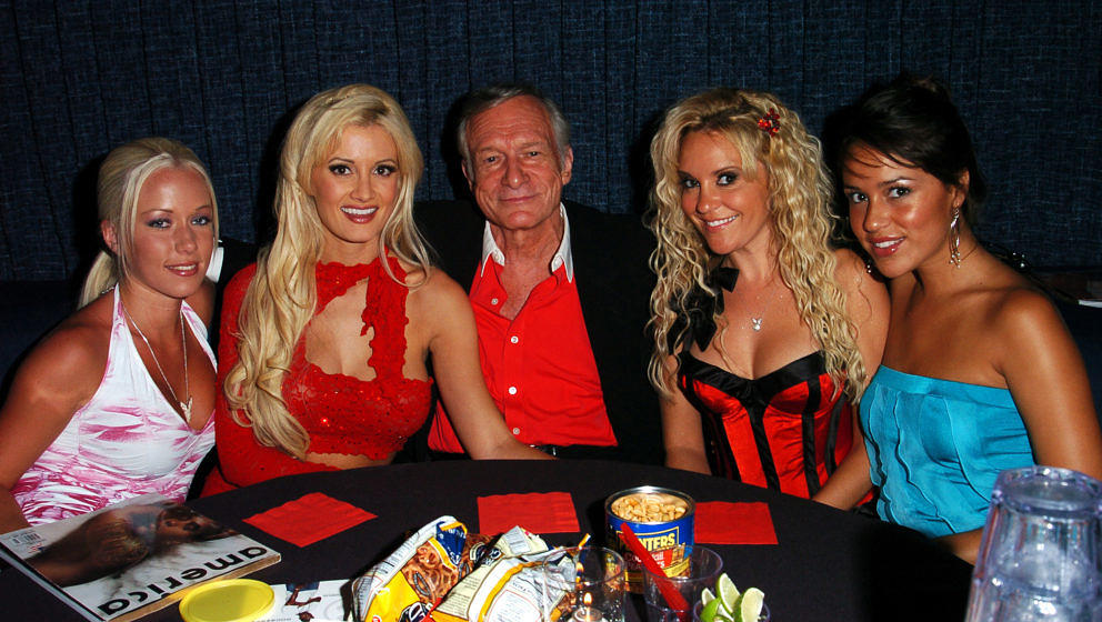 Hugh Hefner and Playmates during America Magazine Party Hosted by Damon Dash at The Concorde in Hollywood, California, United