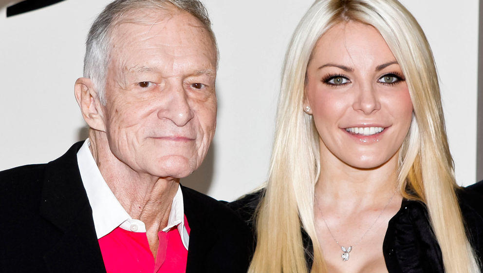 BEVERLY HILLS, CA - AUGUST 07:  (L-R) Hugh Hefner and Crystal Harris attend the Beverly Hills City Council and Playboy Enterp