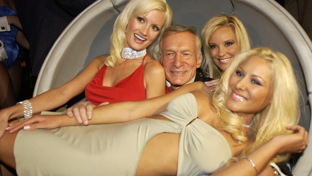 Holly Madison, Hugh Hefner, Bridget Marquardt Front Row, Crystal Camden (Photo by Denise Truscello/WireImage)
