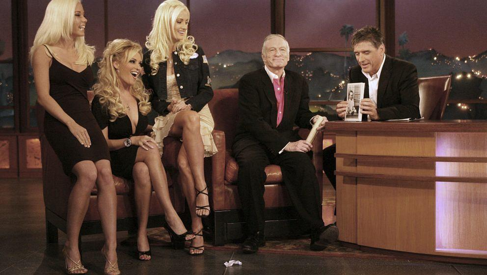 LOS ANGELES - APRIL 6:  (L-R) Playmates, Hugh Hefner and host Craig Ferguson speak during segment of The Late Late Show With