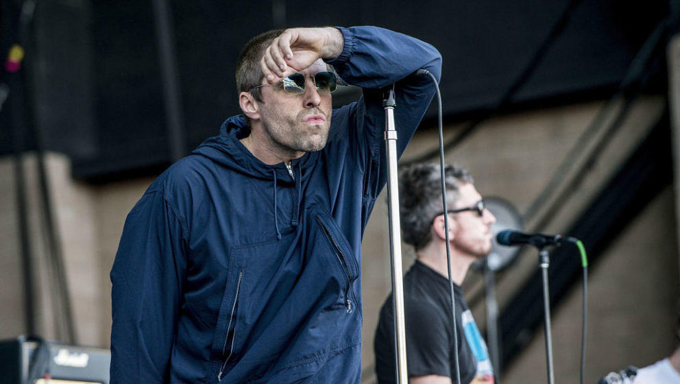 SAN BERNARDINO, CA - OCTOBER 07:  Liam Gallagher performs at Glen Helen Amphitheatre on October 7, 2017 in San Bernardino, Ca