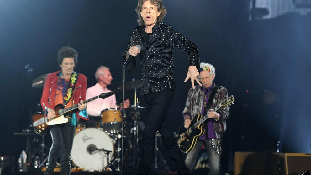 Singer of British rockband the Rolling Stones, Mick Jagger, performs at the Esprit arena during the Rolling Stones tour 'Ston