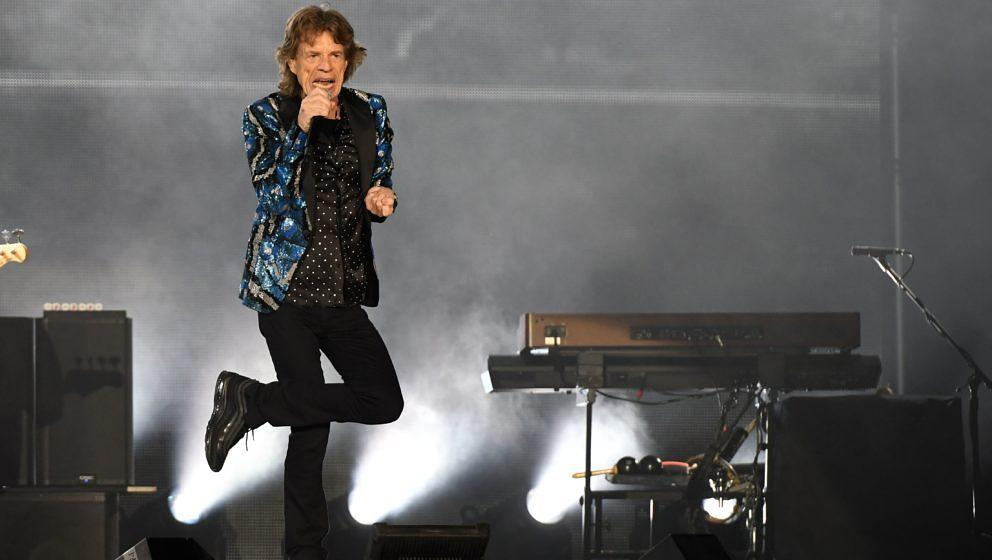 British rockband the Rolling Stones with their singer Mick Jagger, perform at the Esprit arena during the Rolling Stones tour