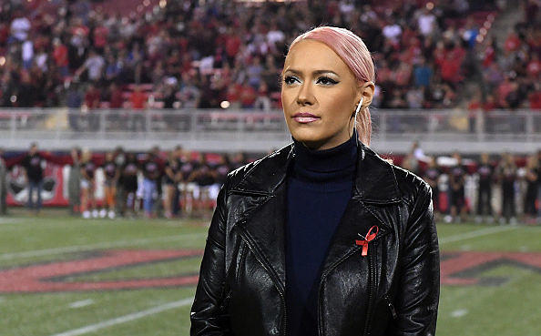 LAS VEGAS, NV - OCTOBER 07:  Kaya Jones waits to sing 'God Bless America' before a game between the San Diego State Aztecs an