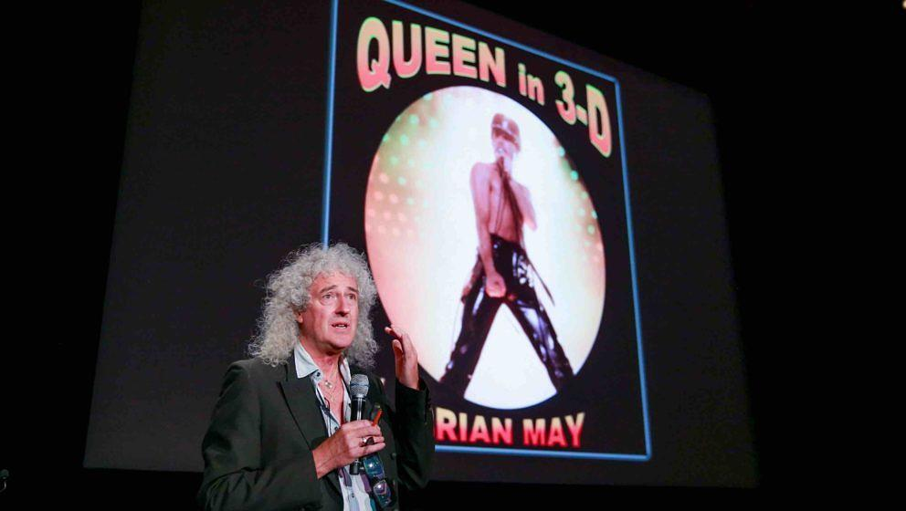 BURBANK, CA - AUGUST 25:  Brian May presents his new book 'Queen in 3-D' at Disney Studios on August 25, 2017 in Burbank, Cal