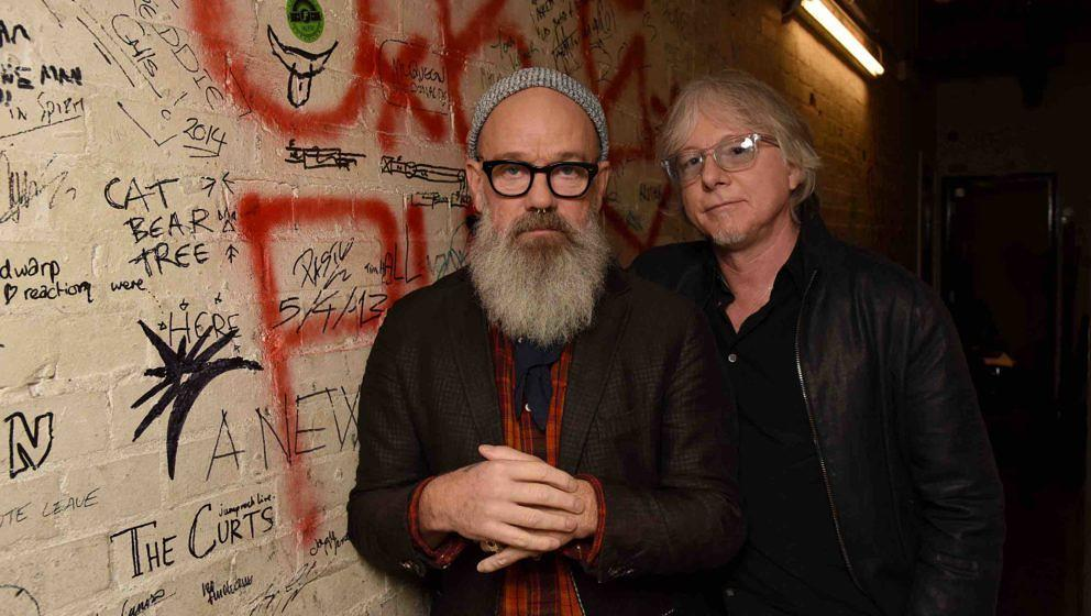 LONDON, ENGLAND - NOVEMBER 18:  Michael Stipe and Mike Mills attend the 25th anniversary of REM's album 'Out Of Time' album a