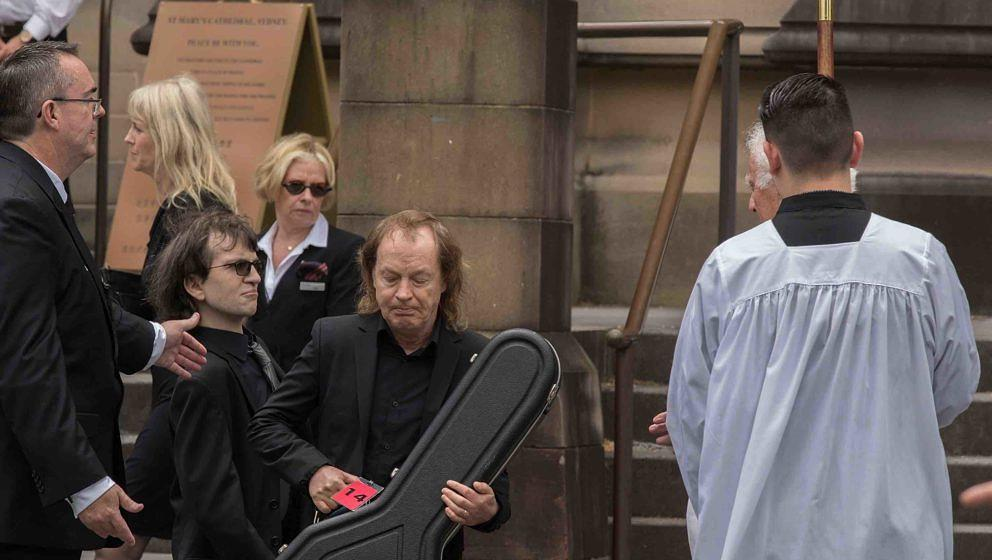 SYDNEY, AUSTRALIA - NOVEMBER 28:  The funeral service for AC/DC co-founder Malcolm Young at St Mary's Cathedral. Ross young,