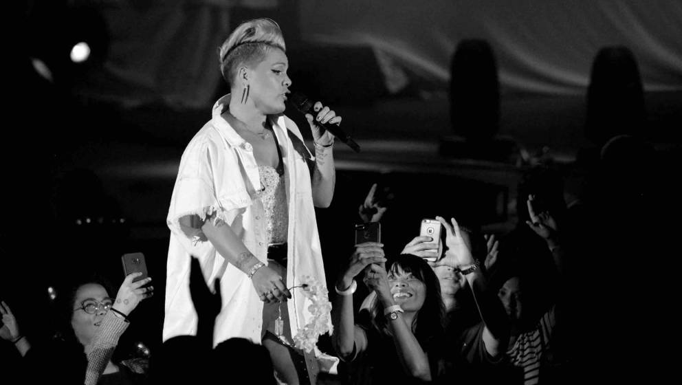 HOLLYWOOD, CA - OCTOBER 21:  (EDITORS NOTE: Image has been converted to black and white) Singer Pink performs onstage during