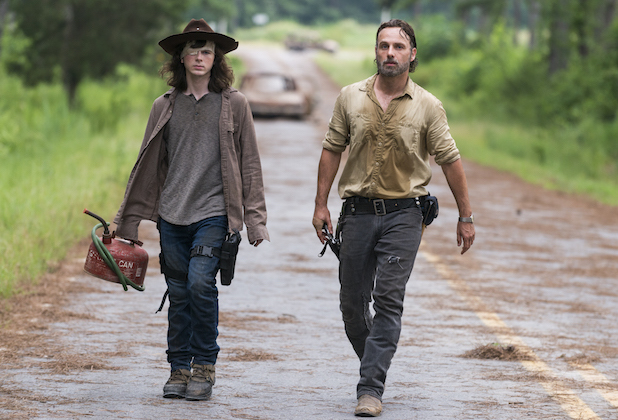 Andrew Lincoln as Rick Grimes, Chandler Riggs as Carl Grimes - The Walking Dead _ Season 8, Episode 8 - Photo Credit: Gene Pa