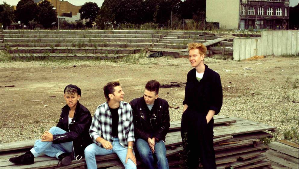 Depeche Mode, group portrait, Berlin, July 1984, L-R Martin Gore, Dave Gahan, Alan Wilder, Andrew Fletcher. (Photo by Michael