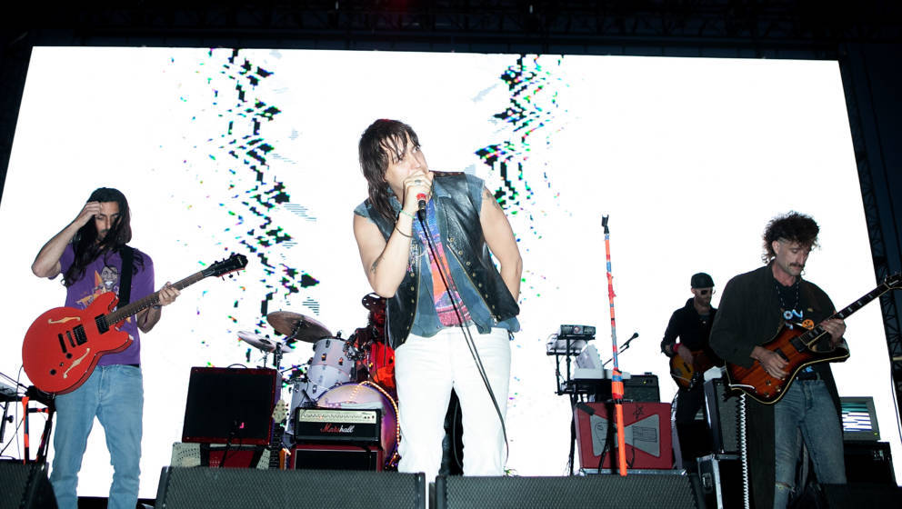 LOS ANGELES, CA - AUGUST 23:  Julian Casablancas and the Voidz perform at FYF Fest 2014 - Day 1 at Los Angeles Sports Arena o