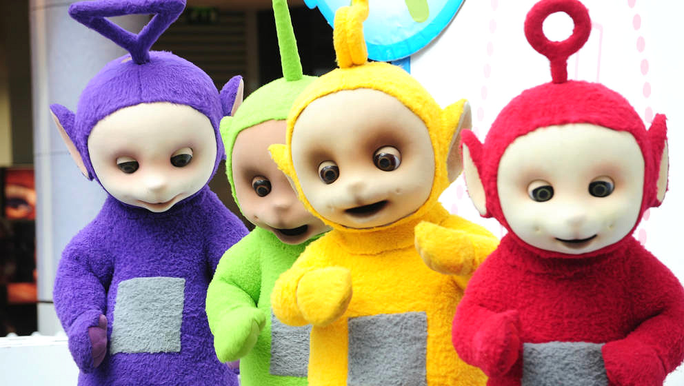 LONDON, ENGLAND - SEPTEMBER 10:  The Teletubbies, (L-R) Tinky Winky, Dipsy, Laa-Laa and Po attend photocall to promote new to