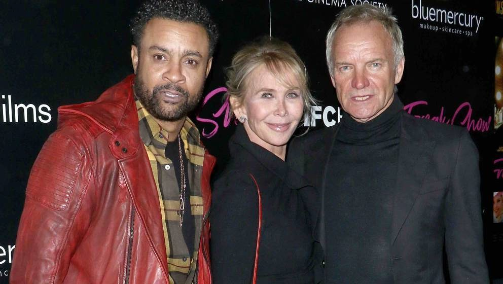 NEW YORK, NY - JANUARY 10: (L-R) Singer Shaggy, director Trudie Styler and singer/songwriter Sting attend the premiere of IFC