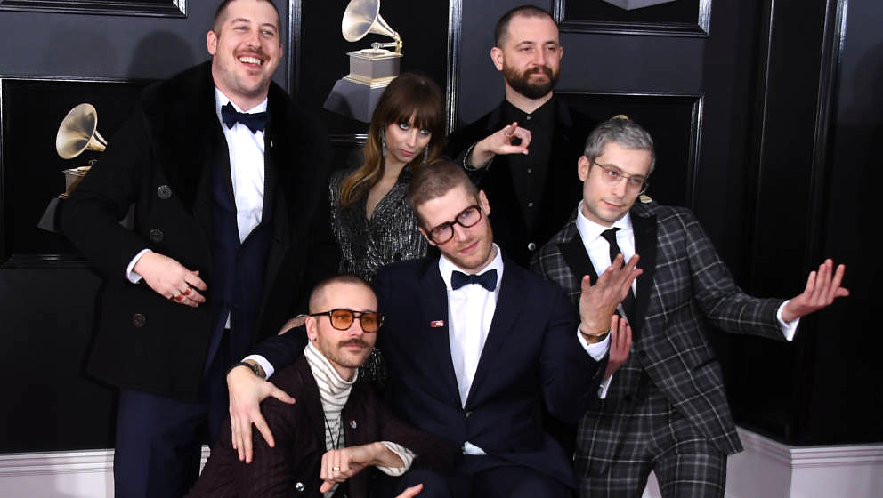 Portugal The Man arrives for the 60th Grammy Awards on January 28, 2018, in New York.  / AFP PHOTO / ANGELA WEISS        (Pho