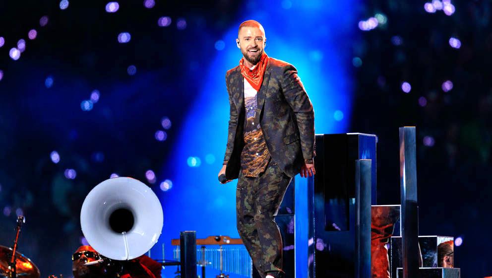 Justin Timberlake bei seinem Auftritt während der Halbzeit-Show des Super Bowl