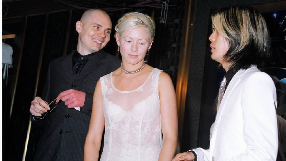 ergangenheit: Billy Corgan, D'arcy Wretzky und James Iha von den Smashing Pumpkins