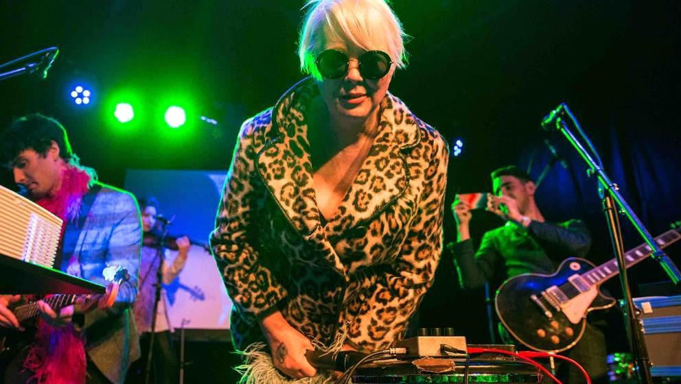 AUSTIN, TX - MARCH 13:  Cindy Wilson performs at The Sidewinder Outside on March 13, 2017 in Austin, Texas.  (Photo by Lorne