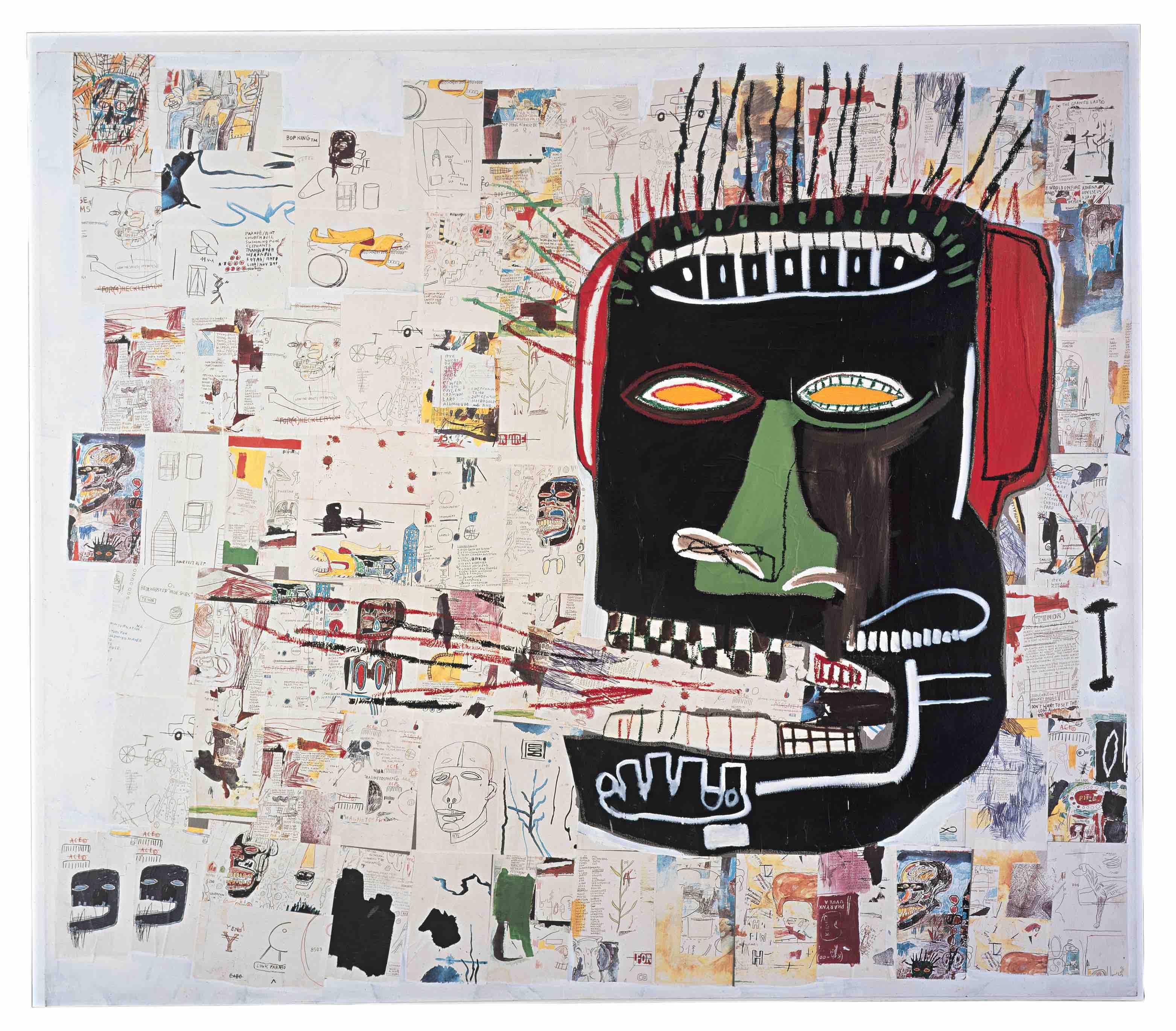 """kopf voll """"Glenn"""" (1984) ist mit zahllosen fotokopierten Bildern unterlegt. Darüber ein Blut spuckender Kopf. Basquiats Gemälde erreichen heute Preise bis 90 Millionen Euro"""
