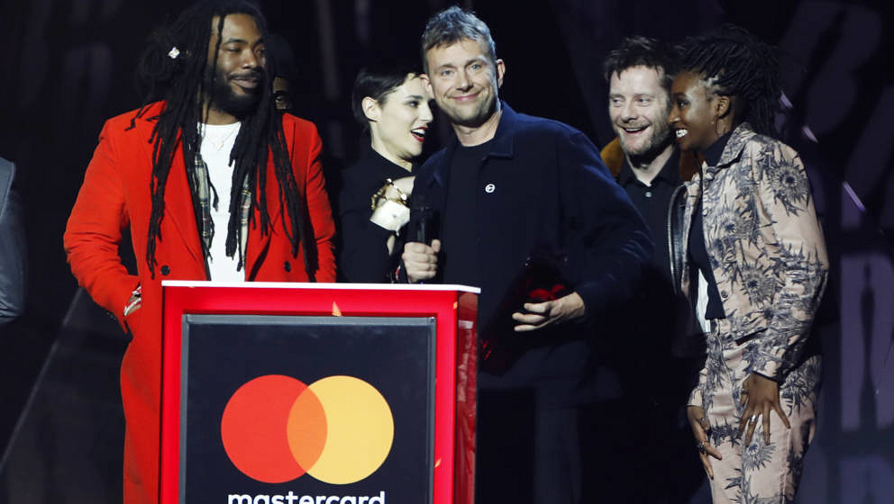 Damon Albarn während seiner etwas verschwurbelten BRIT-Awards-Dankesrede mit den Gorillaz