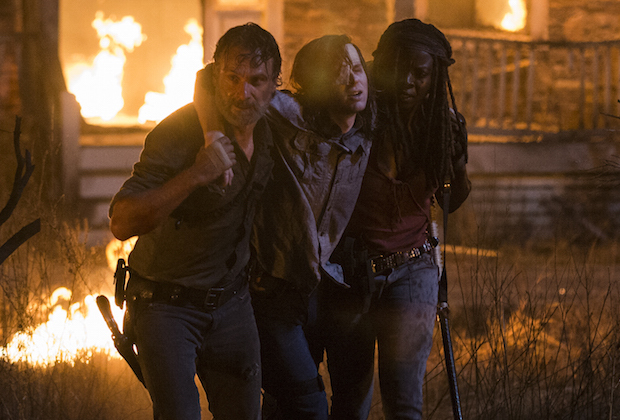 Andrew Lincoln as Rick Grimes, Chandler Riggs as Carl Grimes, Danai Gurira as Michonne - The Walking Dead _ Season 8, Episode