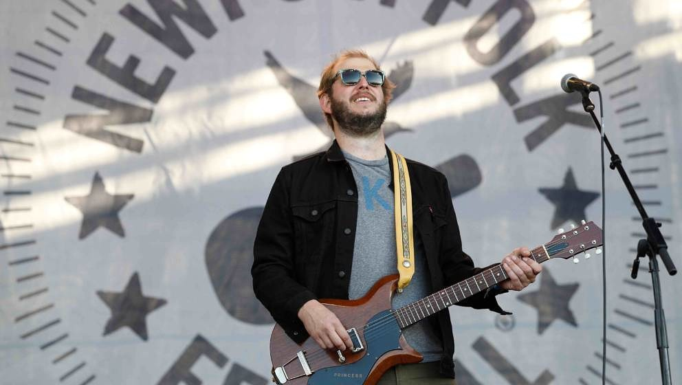 NEWPORT, RI - JULY 30:  Justin Vernon performs during the 2017 Newport Folk Festival at Fort Adams State Park on July 30, 201