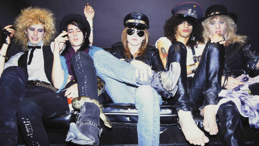 OCTOBER 1985:  (L-R) Duff McKagan, Izzy Stradlin, Axl Rose, Slash and Steven Adler of the rock group 'Guns n' Roses' pose for