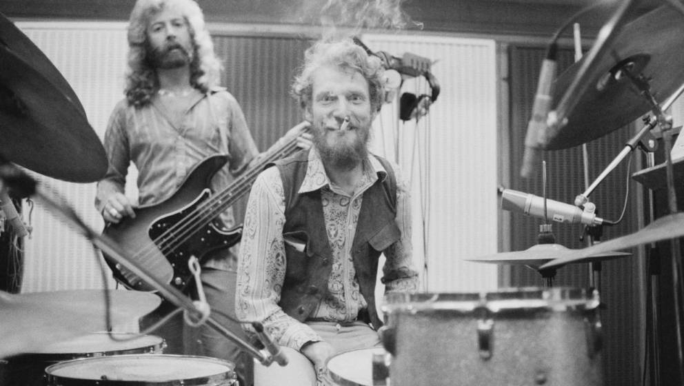 English bassist and singer Paul Gurvitz (left) and drummer Ginger Baker, of rock group the Baker Gurvitz Army, in a studio, A