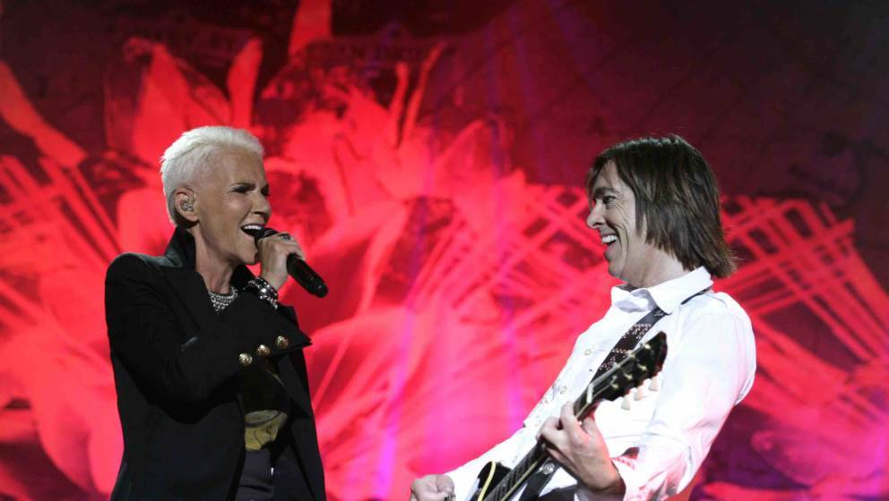 AMSTERDAM, NETHERLANDS - JUNE 29:  (L-R) Marie Fredriksson and Per Gessle of Roxette perform at Heineken Music Hall on June 2
