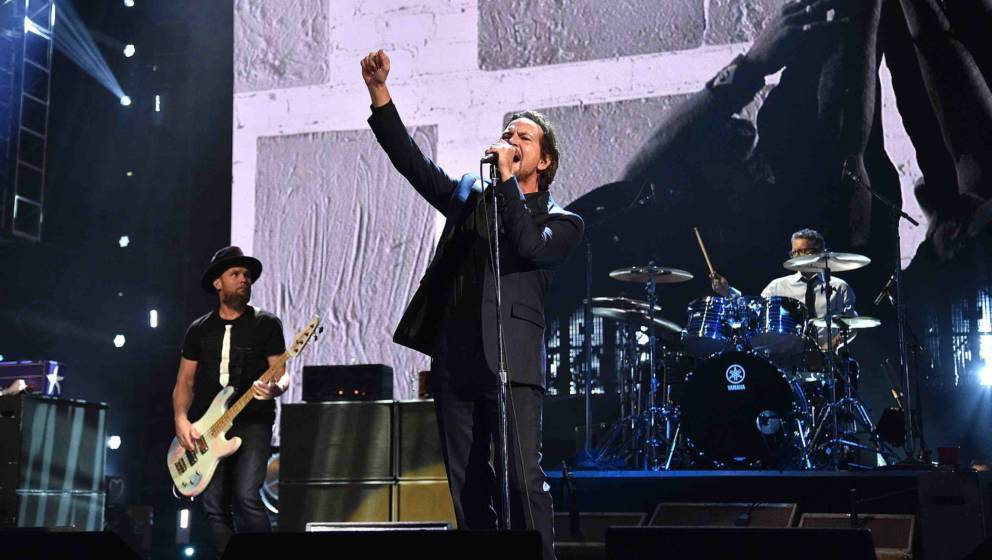 NEW YORK, NY - APRIL 07:  Pearl Jam performs onstage during the 32nd Annual Rock & Roll Hall Of Fame Induction Ceremony a