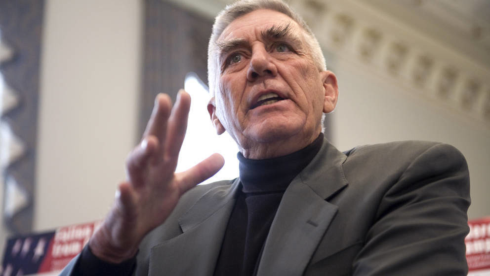 UNITED STATES - FEBRUARY 25:  Actor and retired Marine, R. Lee Ermey, speaks at a news conference to announce legislation tha