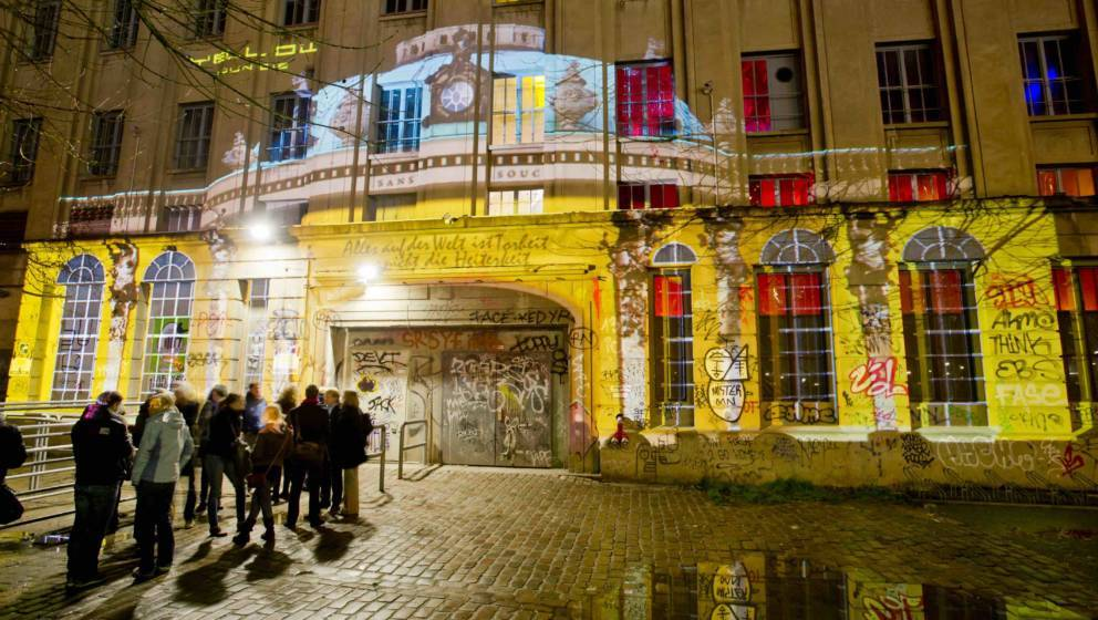 BERLIN, GERMANY - JANUARY 23: (EXCLUSIVE COVERAGE)  Projection of Sanssouci Palace on the facade of Berghain nightclub for Fr