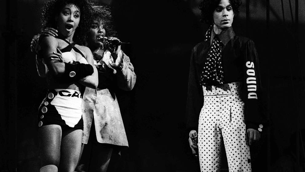 Prince and Cat Glover (left) perform on stage on the Lovesexy Tour at Feijenoord Stadion, De Kuip, Rotterdam, Netherlands, 17