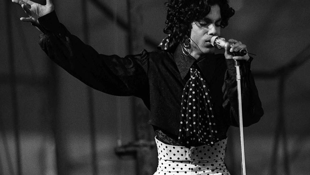 Prince performs on stage on the Lovesexy Tour at Feijenoord Stadion, De Kuip, Rotterdam, Netherlands, 17th August 1988. (Phot