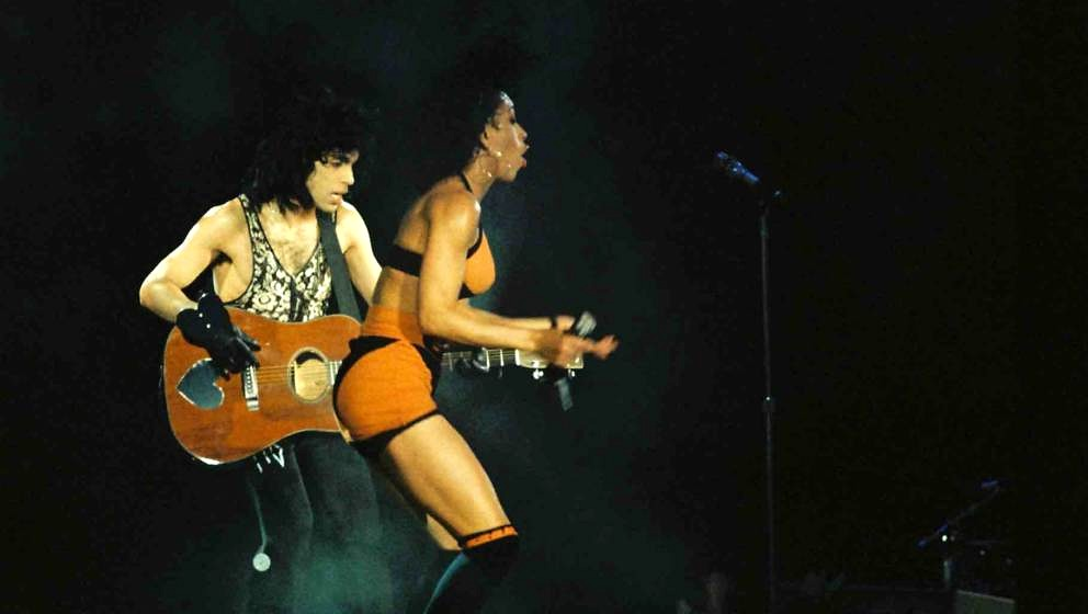 LONDON, UNITED KINGDOM - AUGUST 3: Prince and Cat Glover perform on stage on the Lovesexy tour at Wembley Arena on August 3rd