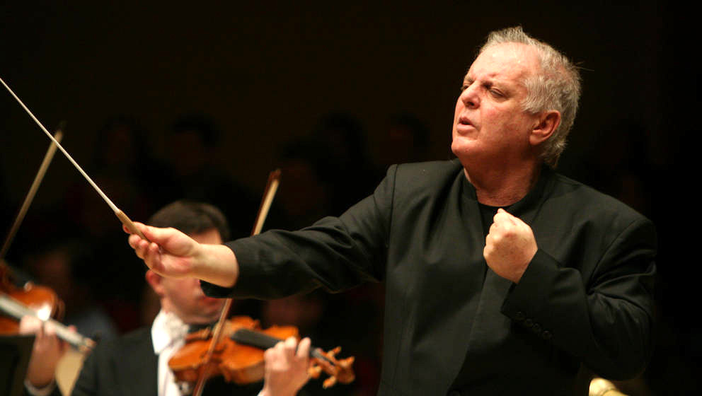 Daniel Barenboim conducts the Vienna Philharmonic Orchestra in Bruckner's 'Symphony No. 7 in E Major' at Carnegie Hall on Fri
