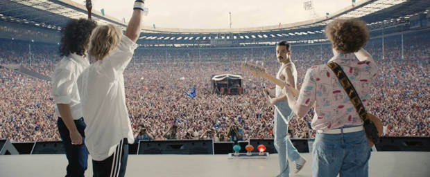 Gwilym Lee (Brian May), Ben Hardy (Roger Taylor), Rami Malek (Freddie Mercury) und Joe Mazzello (John Deacon)