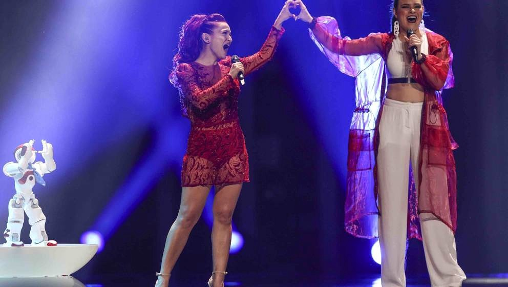 LISBON, PORTUGAL - MAY 10: Singers Jessika (L) and Jenifer Brening (R) representing San-Marino performs during the  second se