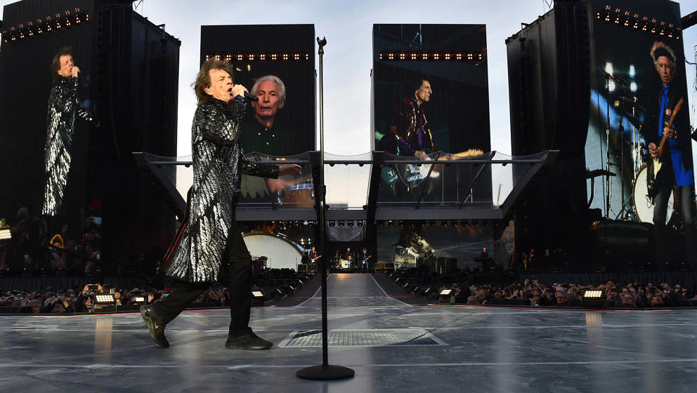 DUBLIN, IRELAND - MAY 17: The Rolling Stones perform live on stage on the opening night of the european leg of their No Filte